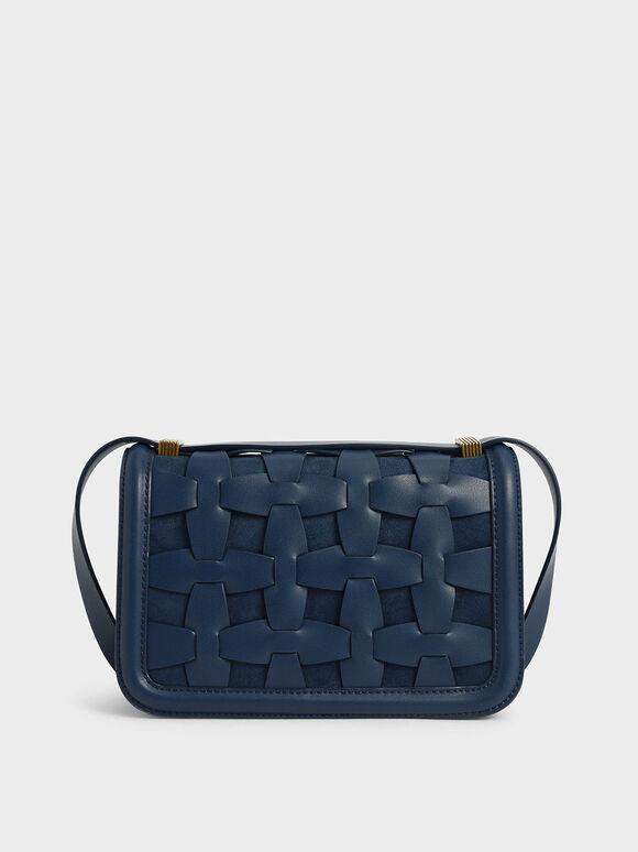 Weave Detail Shoulder Bag, Blue, hi-res