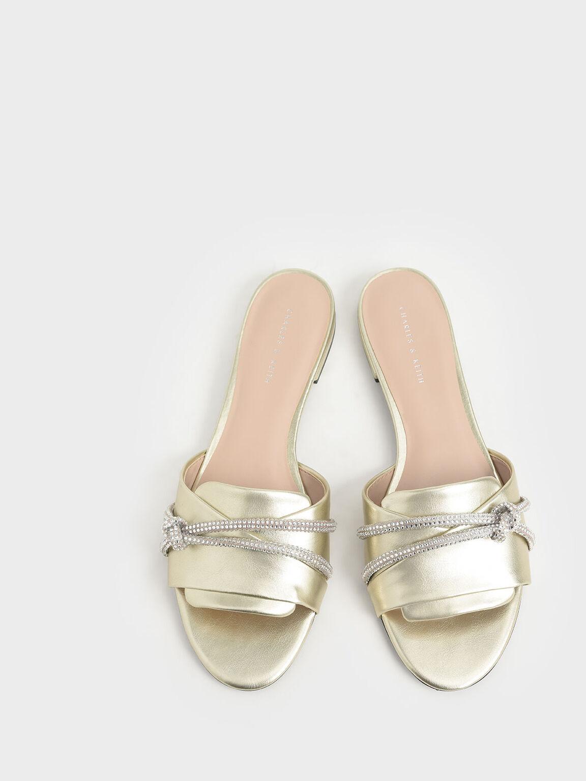 碎鑽扭結拖鞋, 金色, hi-res