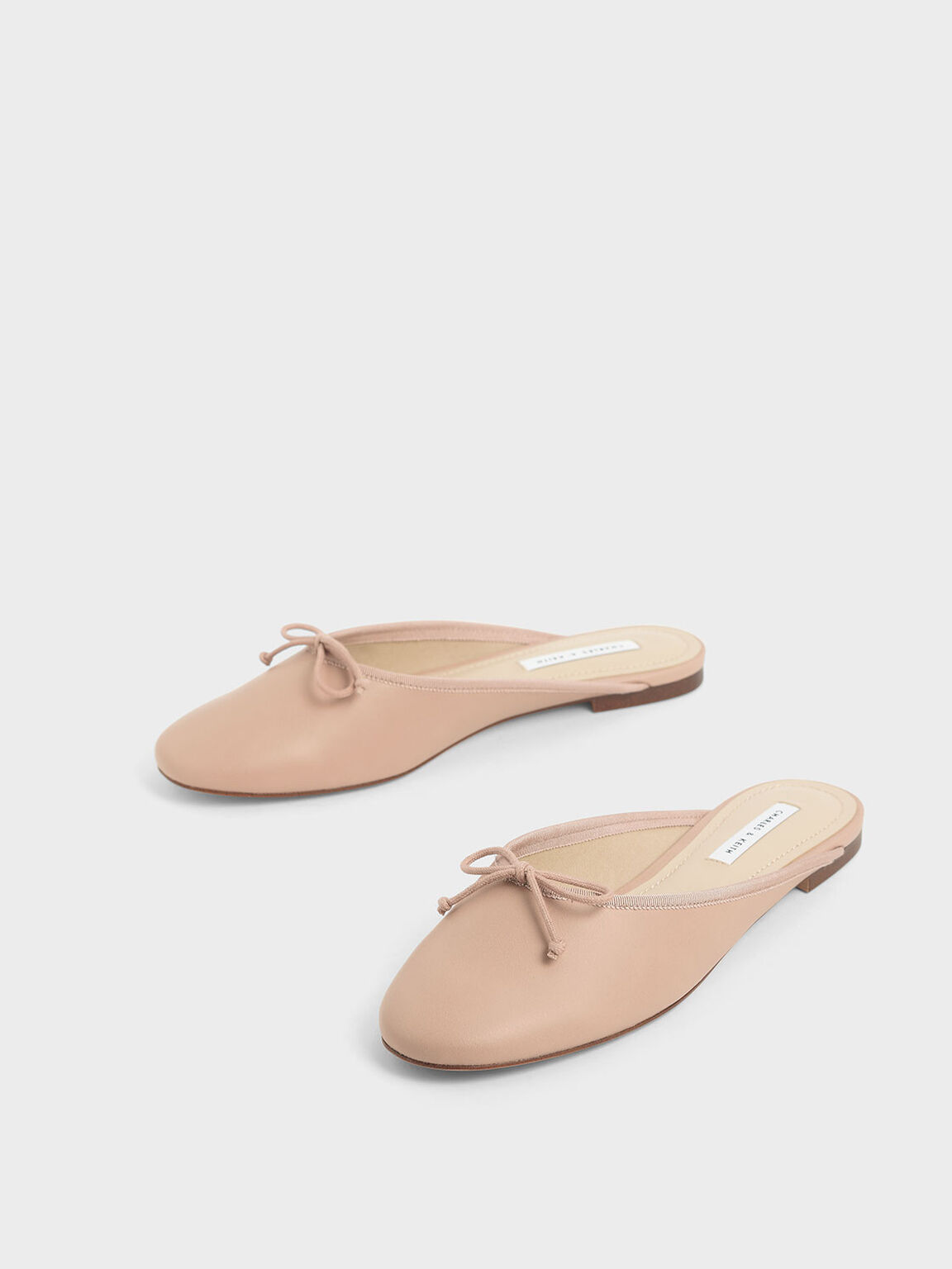 Bow Flat Mules, Nude, hi-res