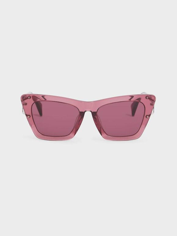 Acetate Butterfly Sunglasses, Purple, hi-res