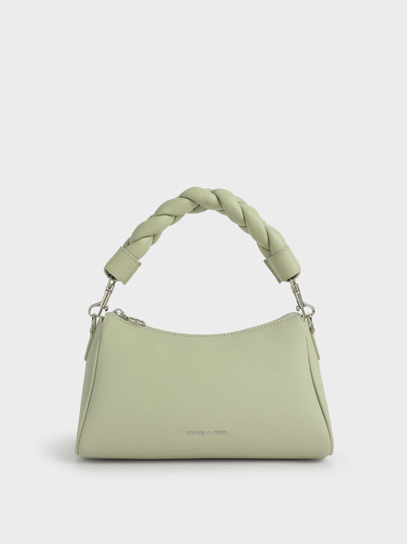 Braided Handle Bag, Sage Green, hi-res