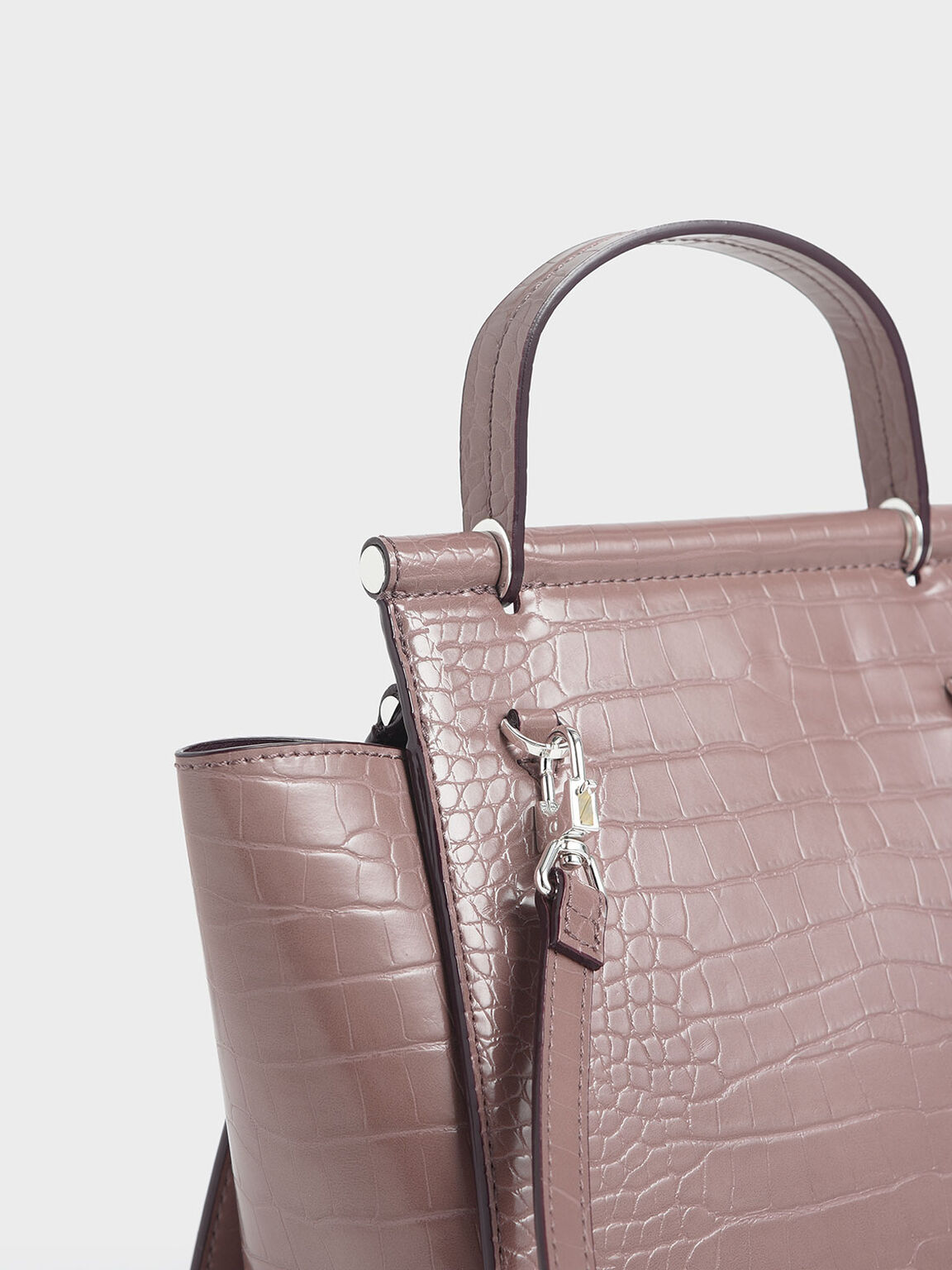 Croc-Effect Trapeze Bag, Mauve, hi-res