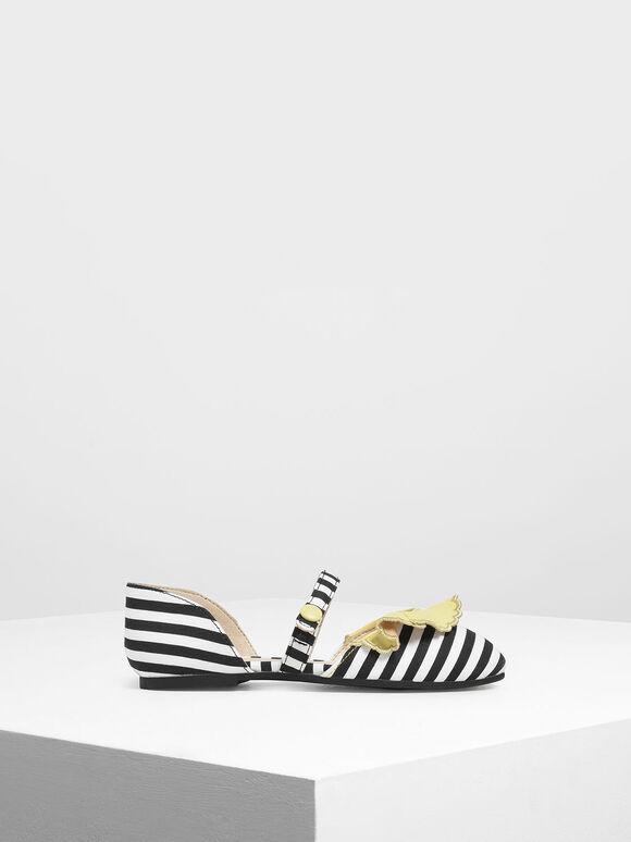 兒童條紋瑪莉珍鞋, 黑色, hi-res