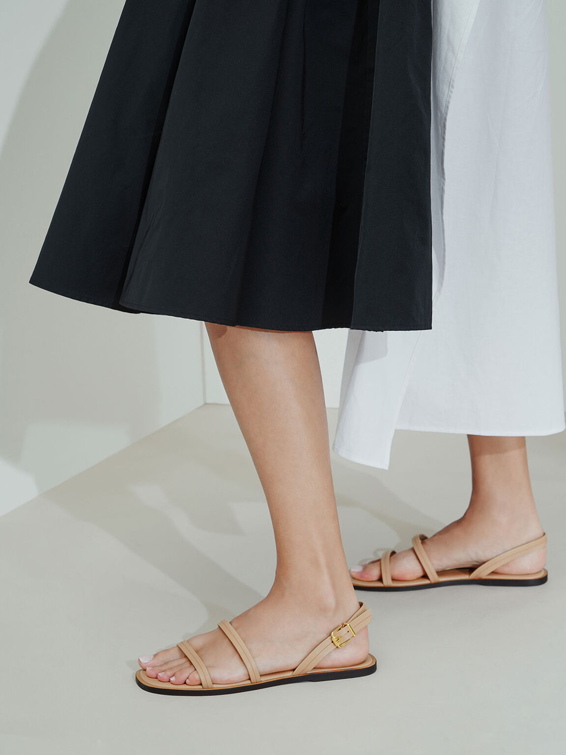 雙帶平底涼鞋, 膚色, hi-res