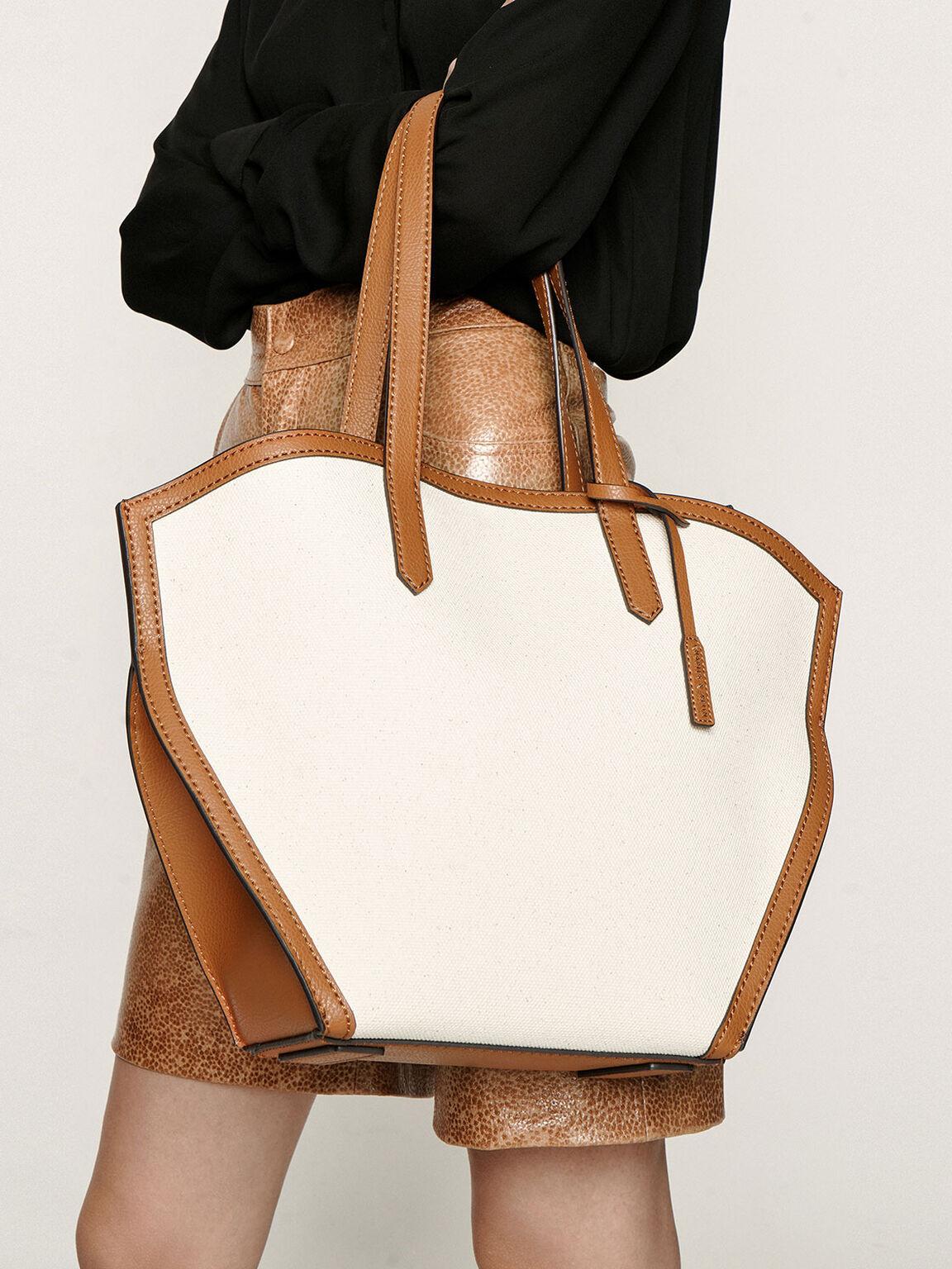 Large Geometric Canvas Tote Bag, Cognac, hi-res