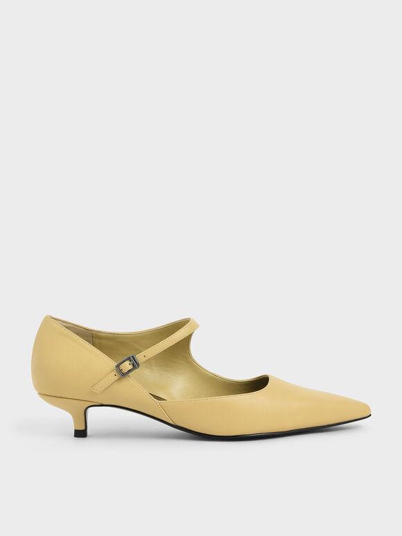 Asymmetric Mary Jane Kitten Heels, Yellow, hi-res