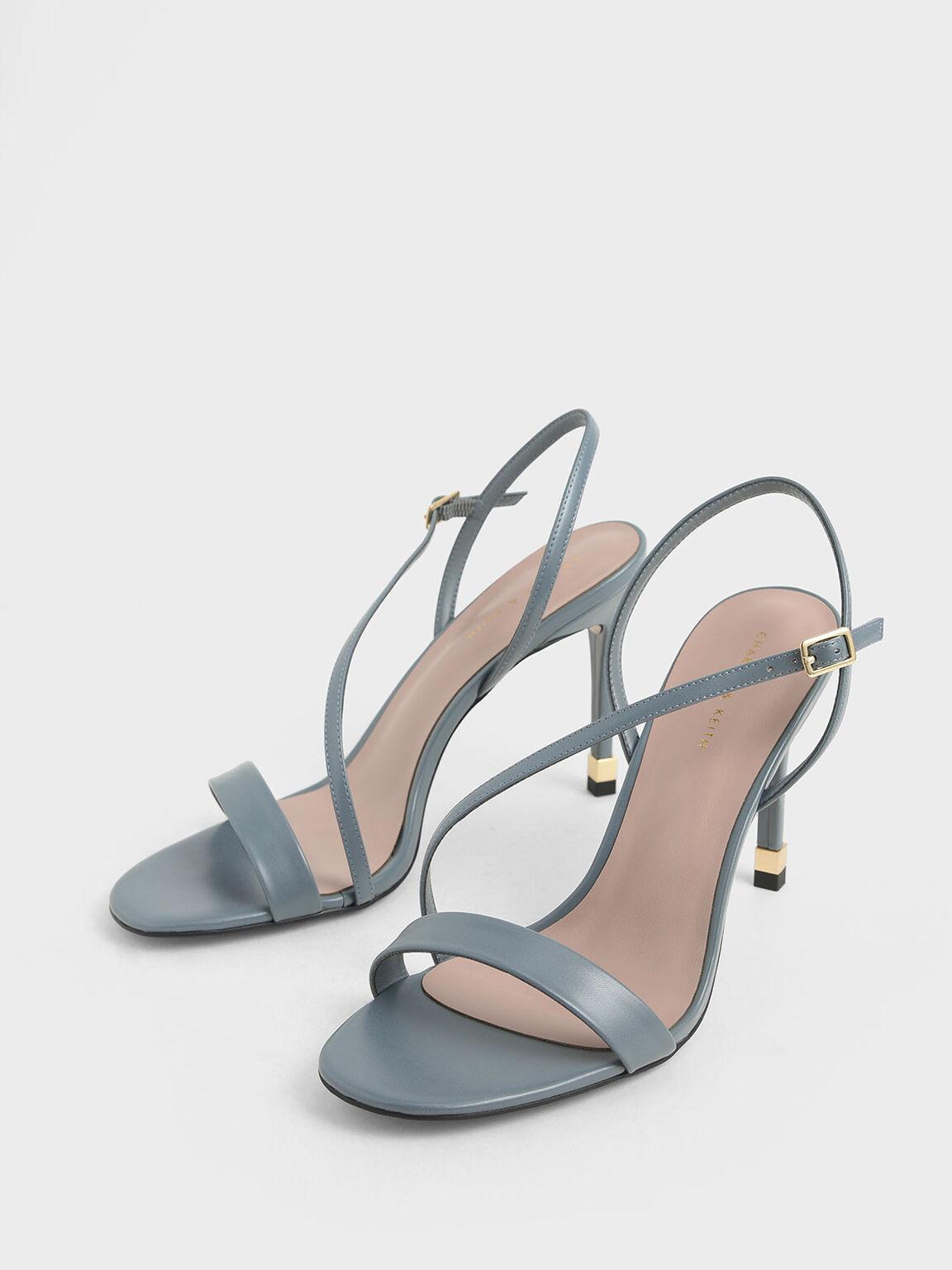 Asymmetric Strap Slingback Heels, Blue, hi-res