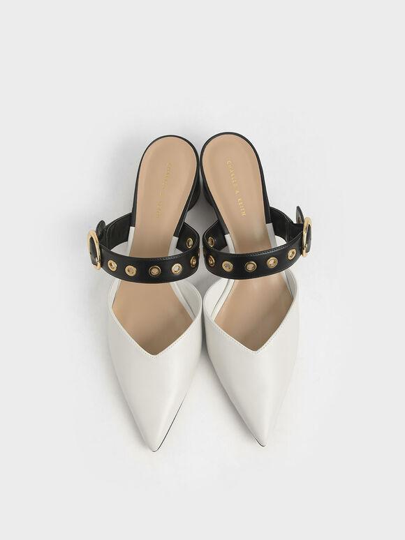 皮帶粗跟穆勒鞋, 石灰白, hi-res