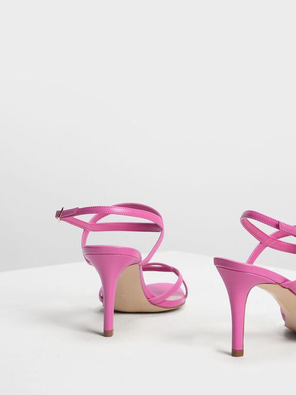 Criss-Cross Strappy Slingback Heels, Fuchsia