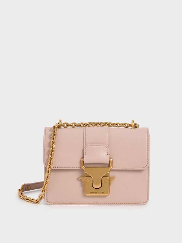 Double Handle Metallic Push-Lock Shoulder Bag, Pink, hi-res