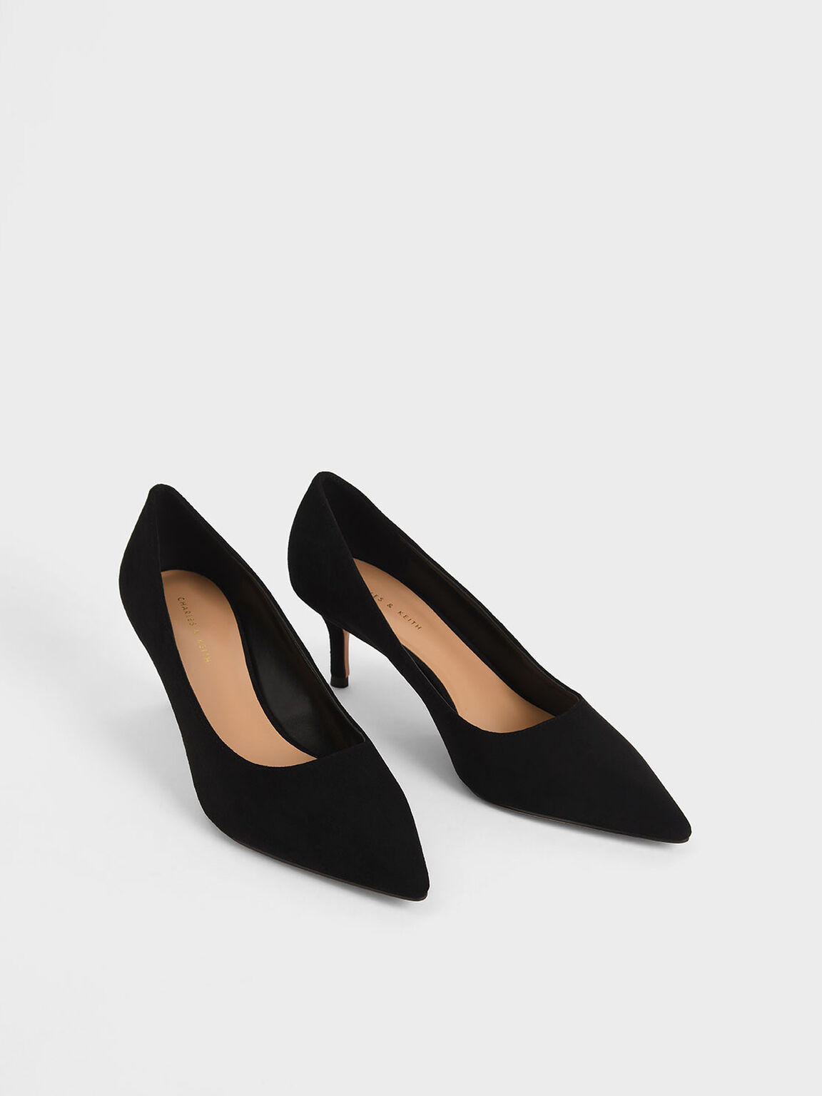 Textured Pointed Toe Pumps, Black Textured, hi-res