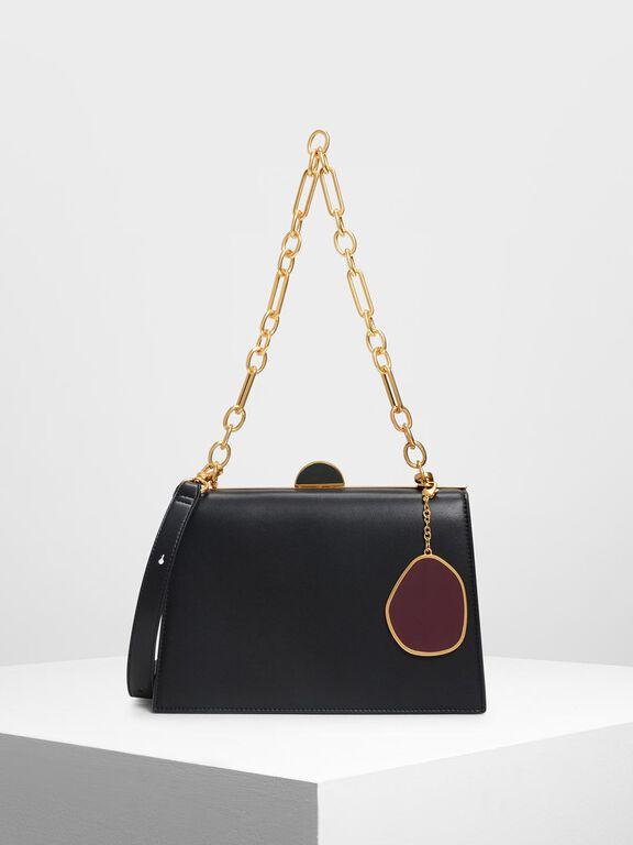 Stone Charm Push Lock Bag, Black