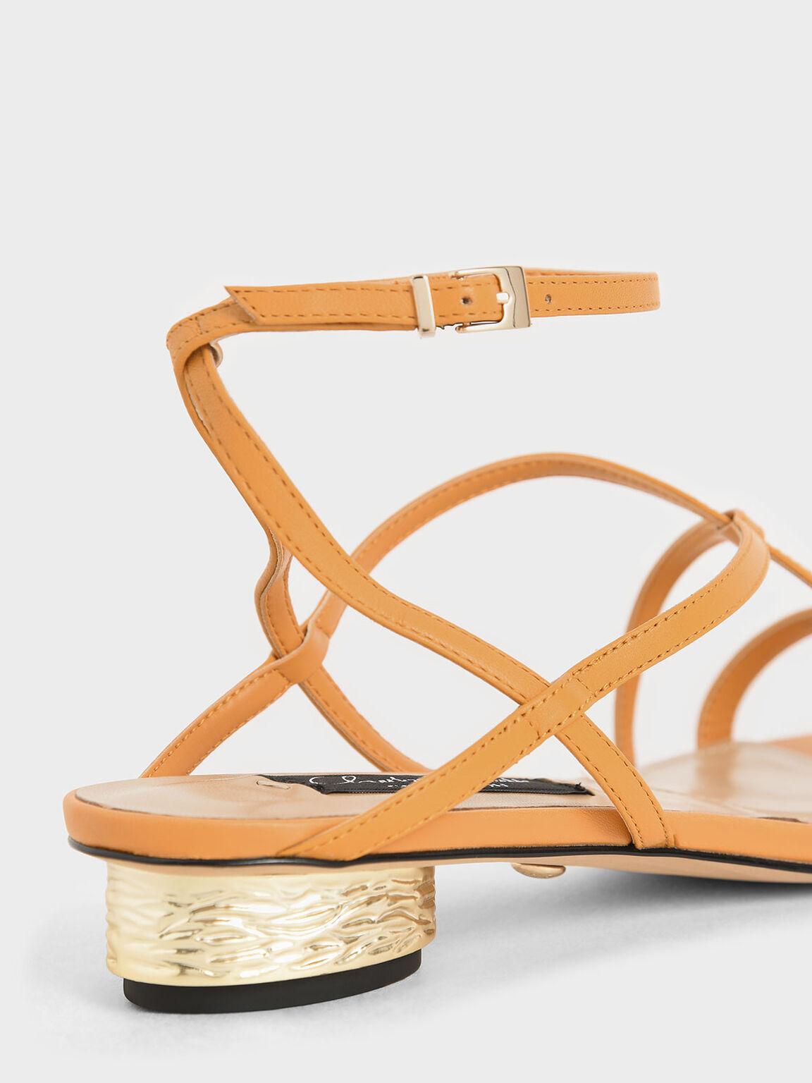 Leather Strappy Sandals, Orange, hi-res