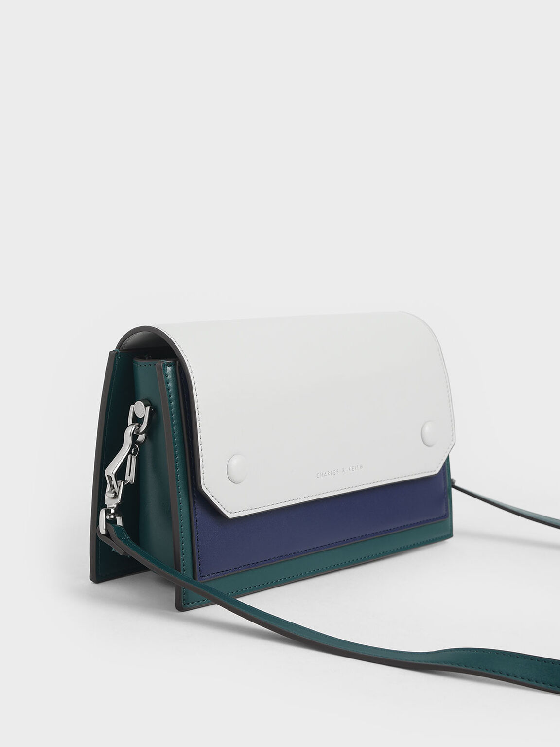 簡約拼接斜背包, 綠色, hi-res