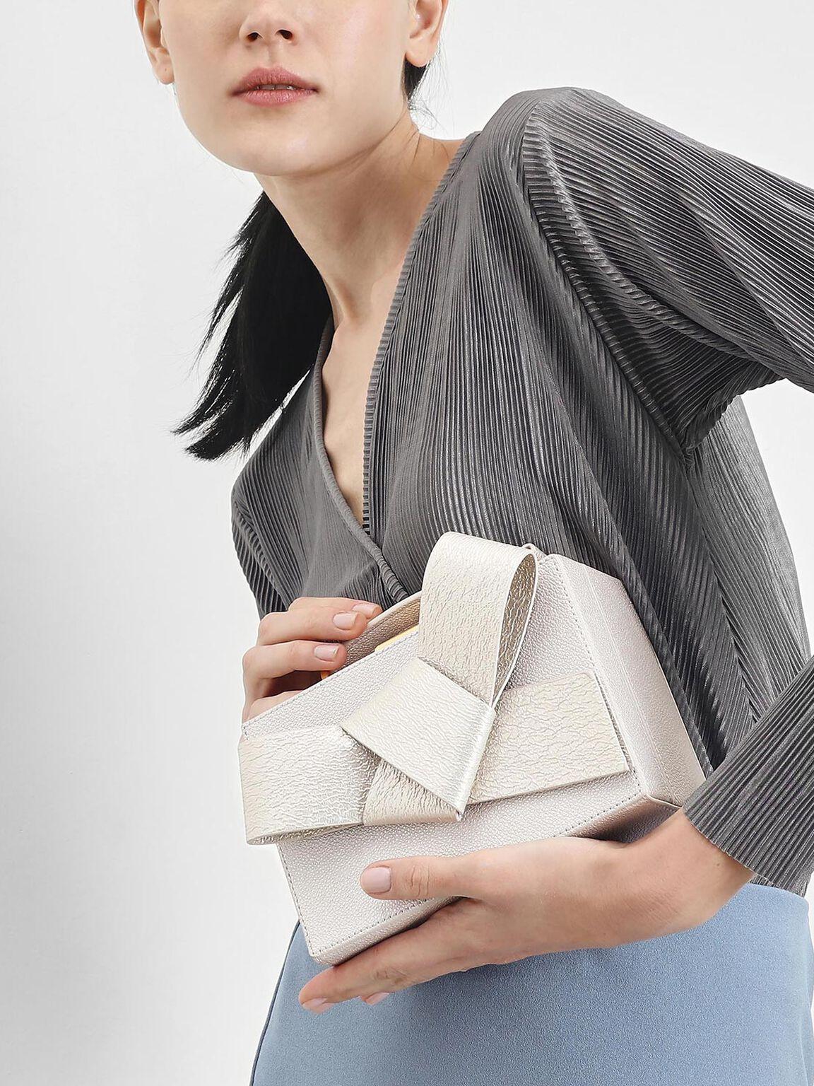 Metallic Ribbon Top Handle Bag, Pearl, hi-res