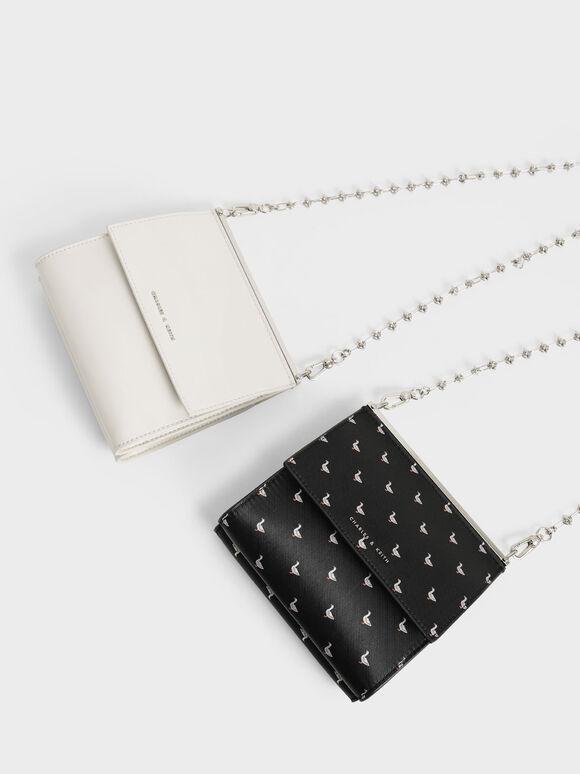 Printed Front Flap Boxy Bag, Black Textured, hi-res