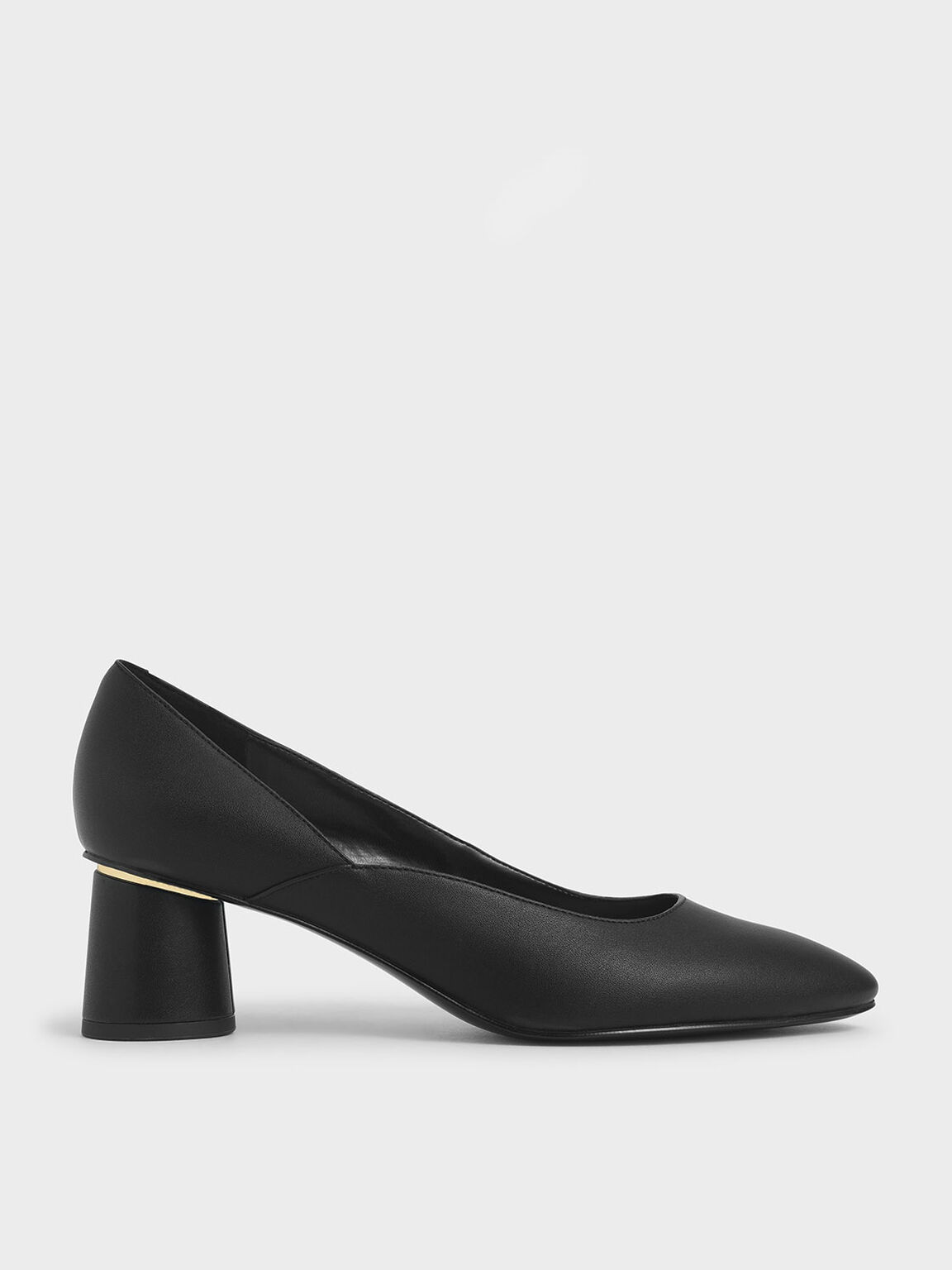 Cylindrical Heel Pumps, Black, hi-res