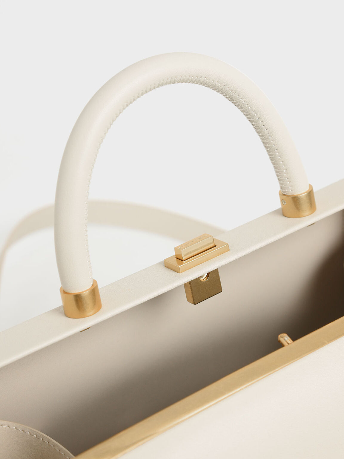 Large Accordion Top Handle Bag, Cream, hi-res
