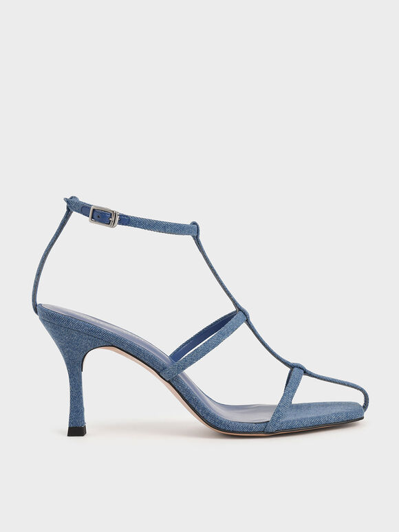 Textured Caged Strappy Heeled Sandals, Blue, hi-res