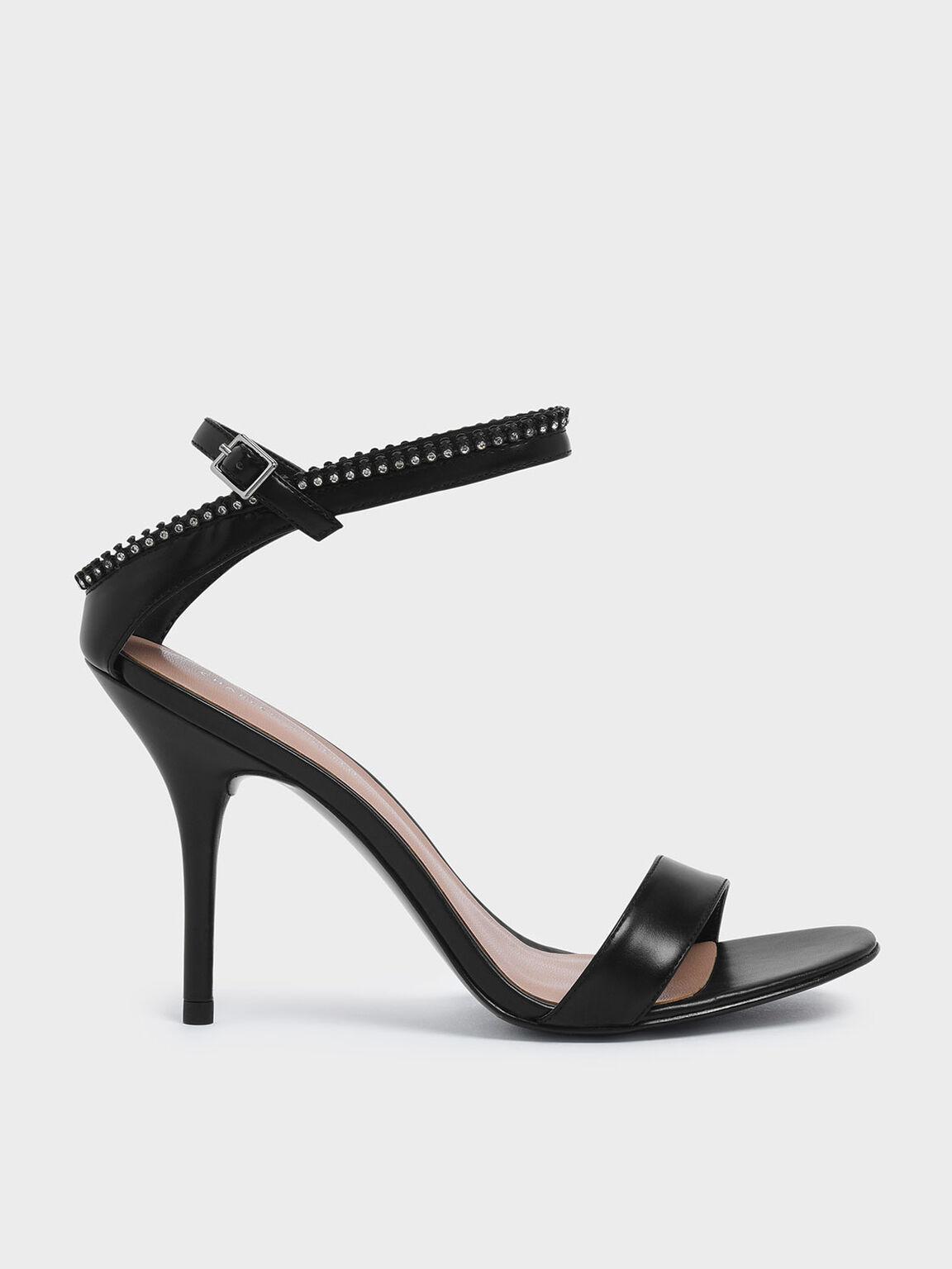 Gem Embellished Ankle Strap Heeled Sandals, Black, hi-res