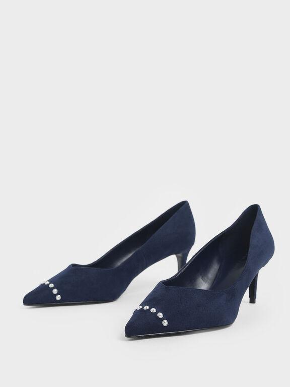 Embellished Trim Pointed Toe Textured Pumps, Dark Blue, hi-res