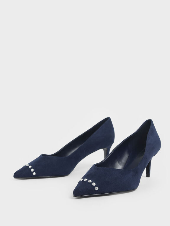 Embellished Trim Pointed Toe Textured Pumps, Dark Blue