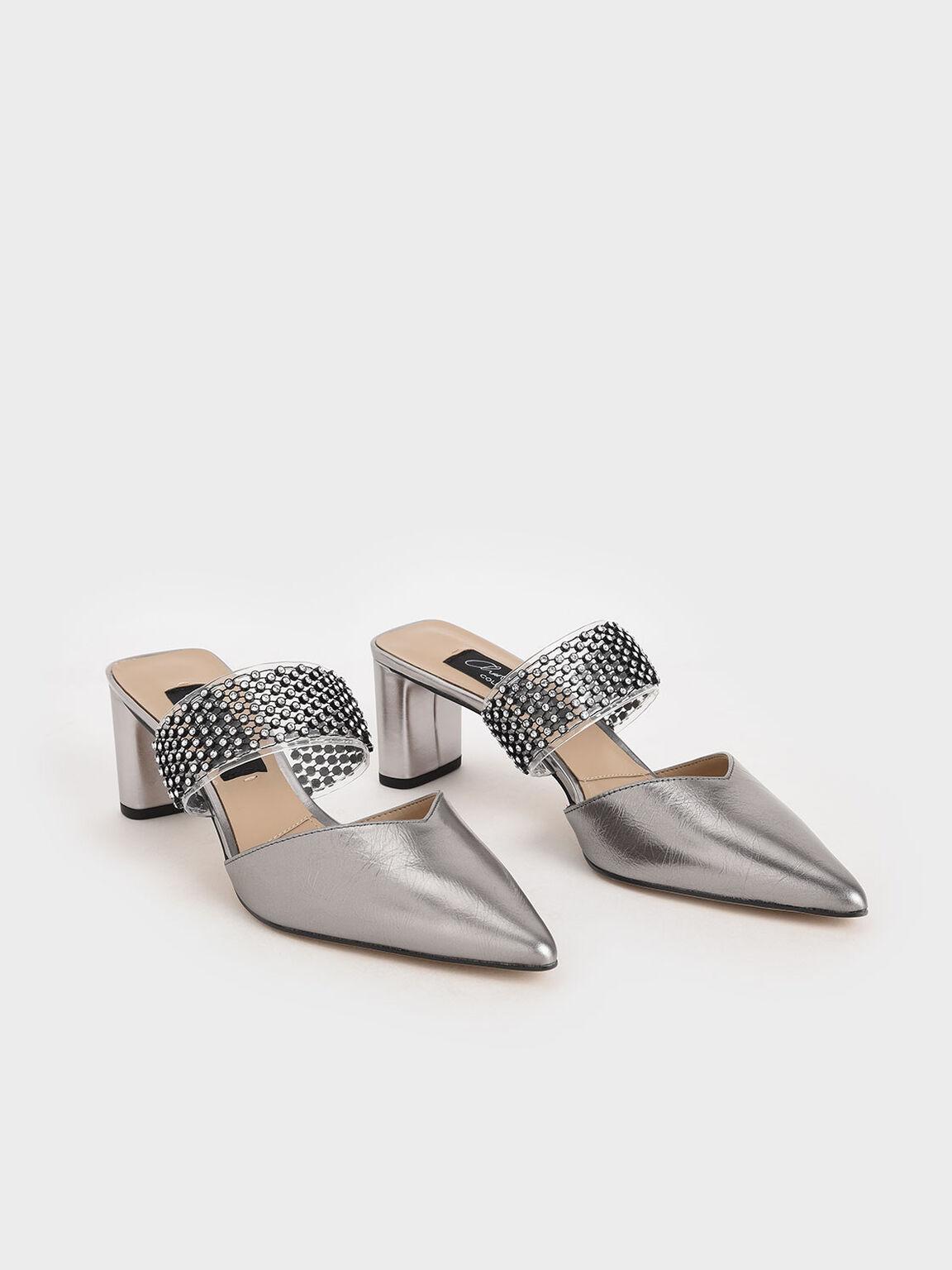 Leather Embellished-Strap Mules, Pewter, hi-res