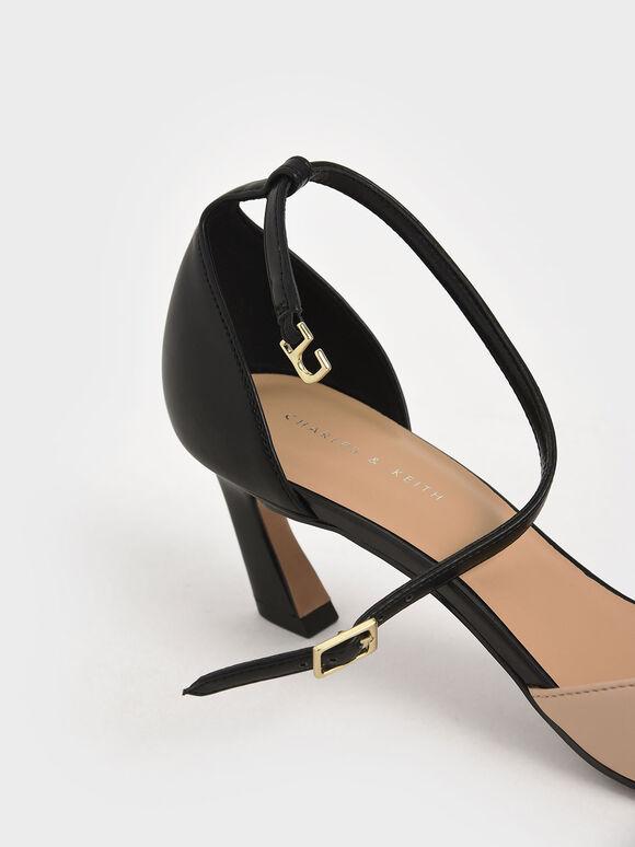 Slant Heel Ankle Strap Pumps, Multi, hi-res