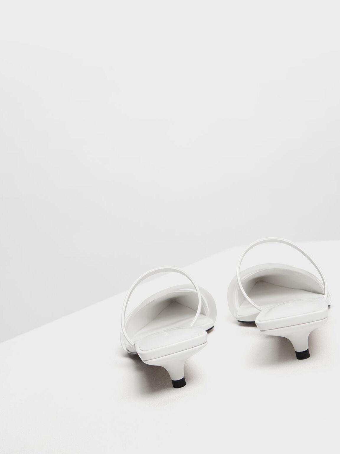Asymmetrical Kitten Heel Mules, White, hi-res