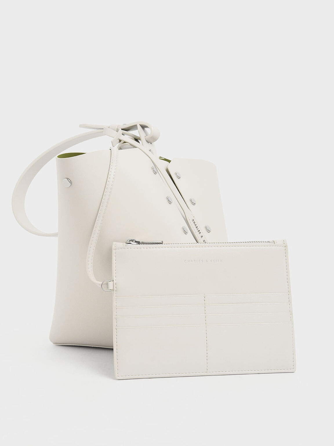 Reversible Studded Trapeze Shoulder Bag, Cream, hi-res