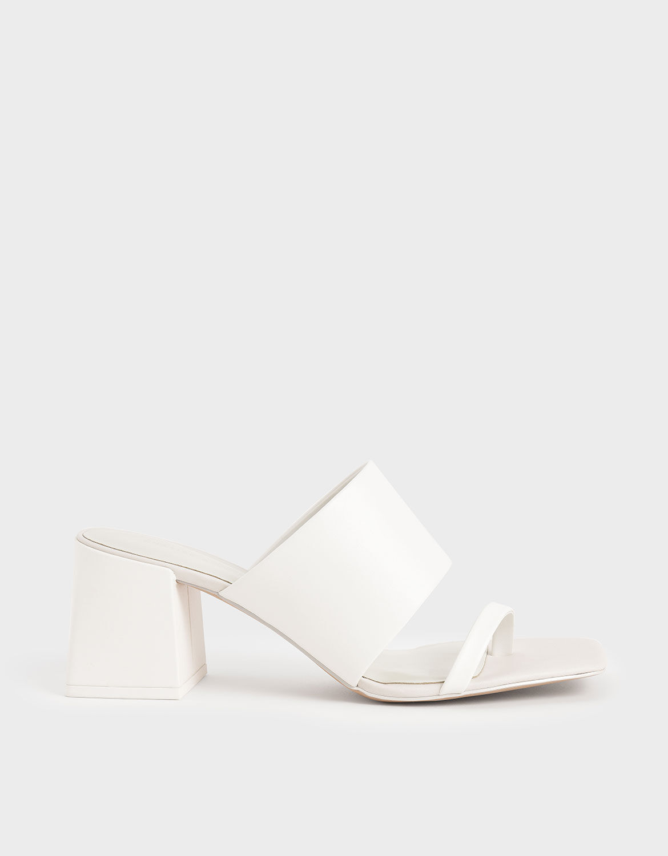 White Block Heel Mules | CHARLES \u0026 KEITH KR