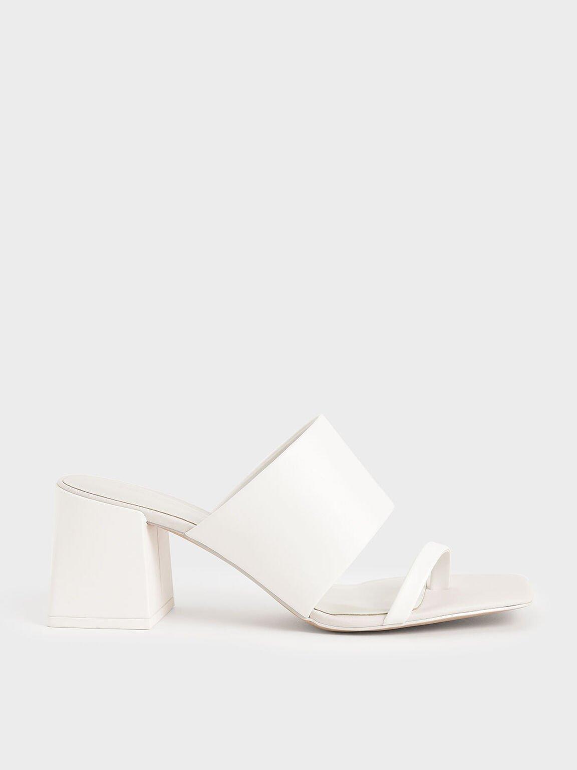 Block Heel Mules, White, hi-res