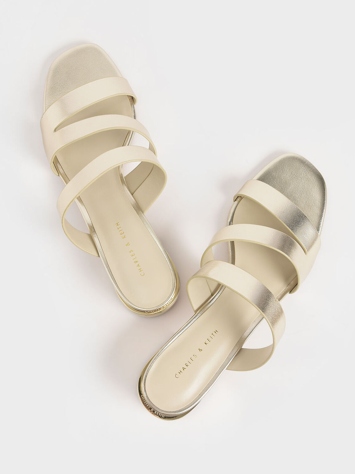 Metallic Block Heel Sandals, Gold, hi-res