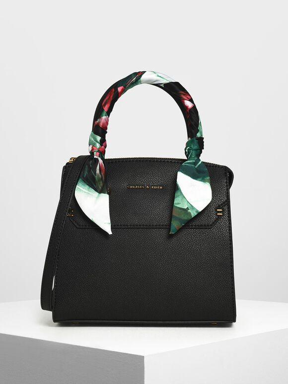 Scarf Wrapped Top Handle Bag, Black, hi-res