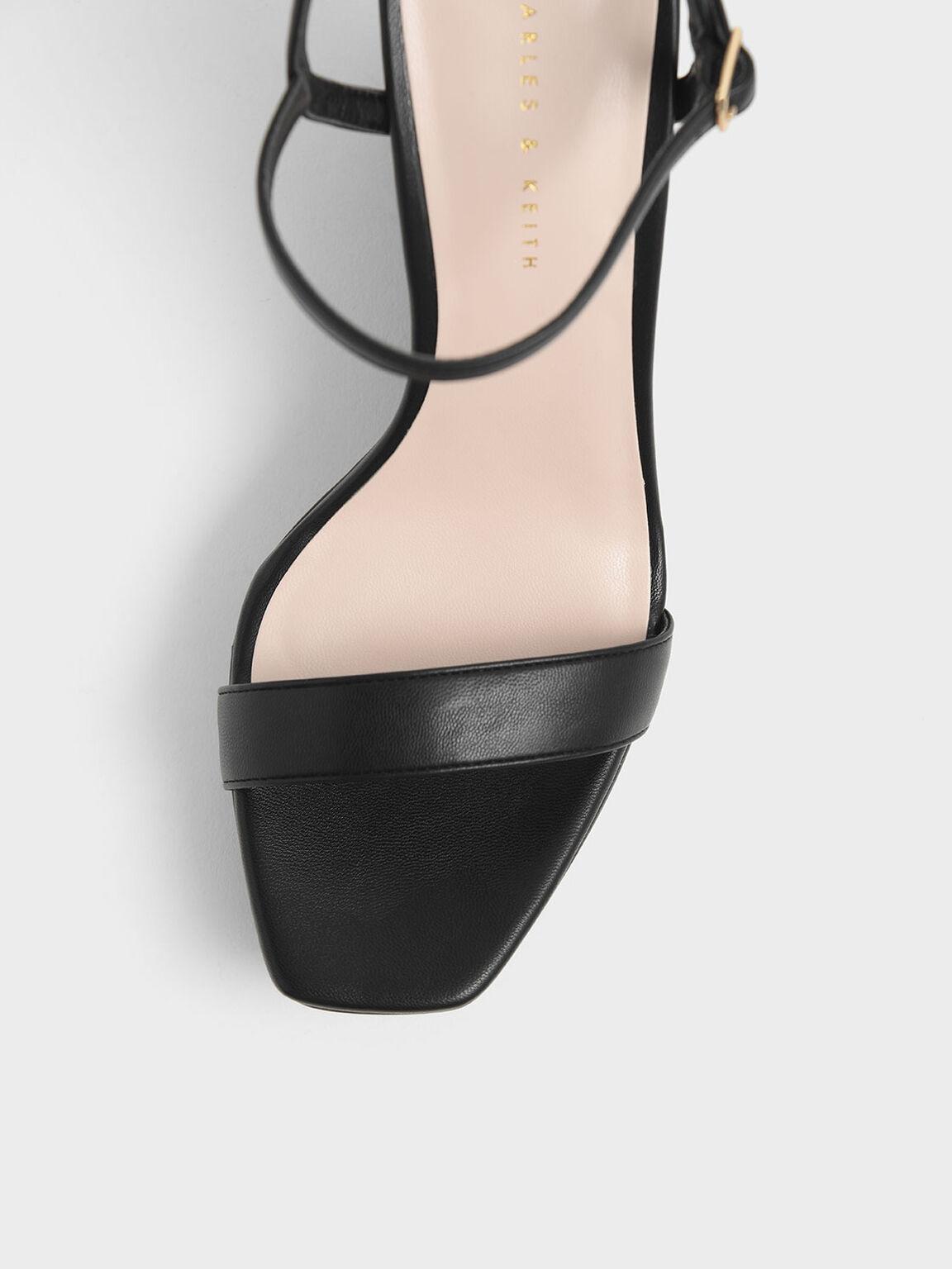 繞踝厚底楔型鞋, 黑色, hi-res