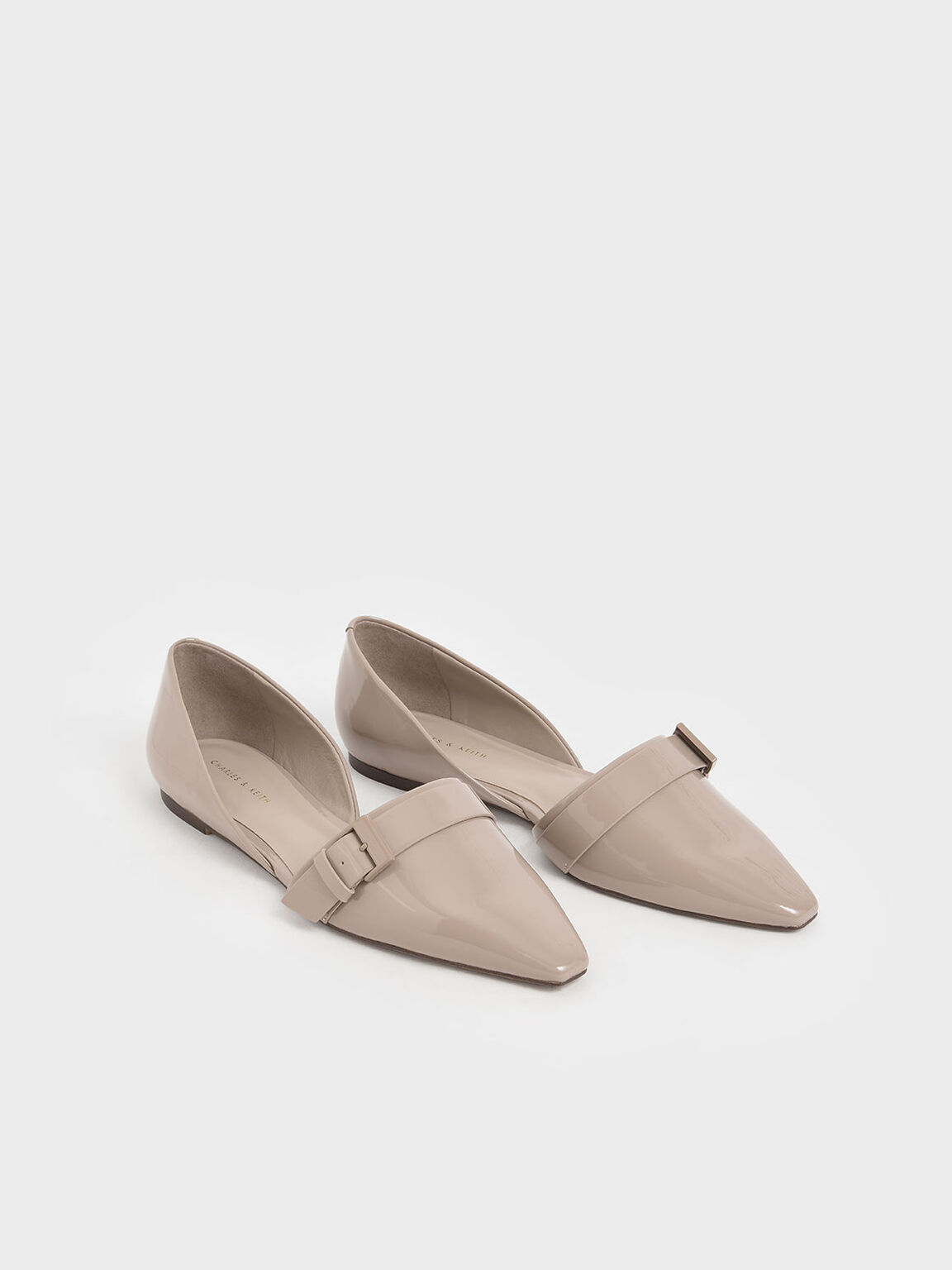 Patent Buckle D'Orsay Flats, Taupe, hi-res