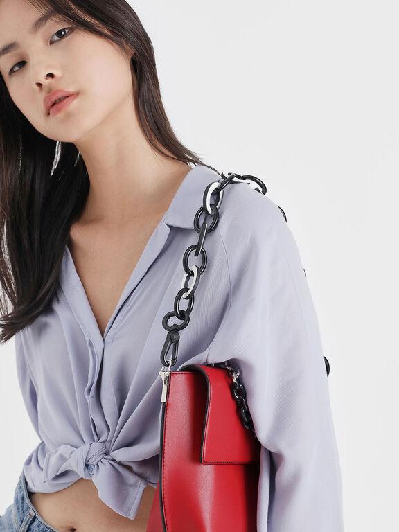Two-Tone Chain Bag Strap, White