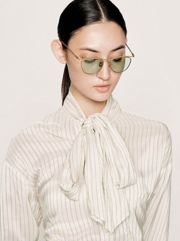 Wireframe Tinted Sunglasses, Green, hi-res