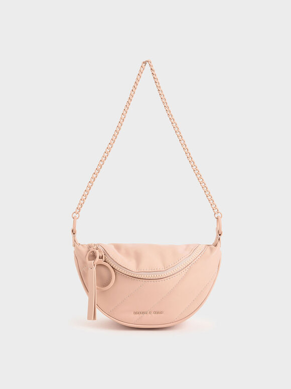 Half Moon Crossbody Bag, Pink, hi-res