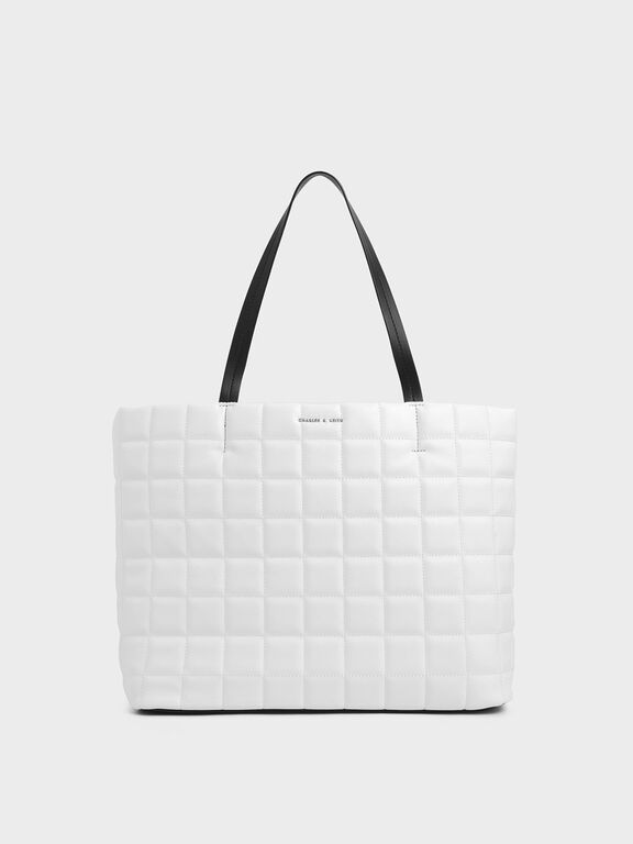 Two-Tone Quilted Large Tote Bag, White, hi-res