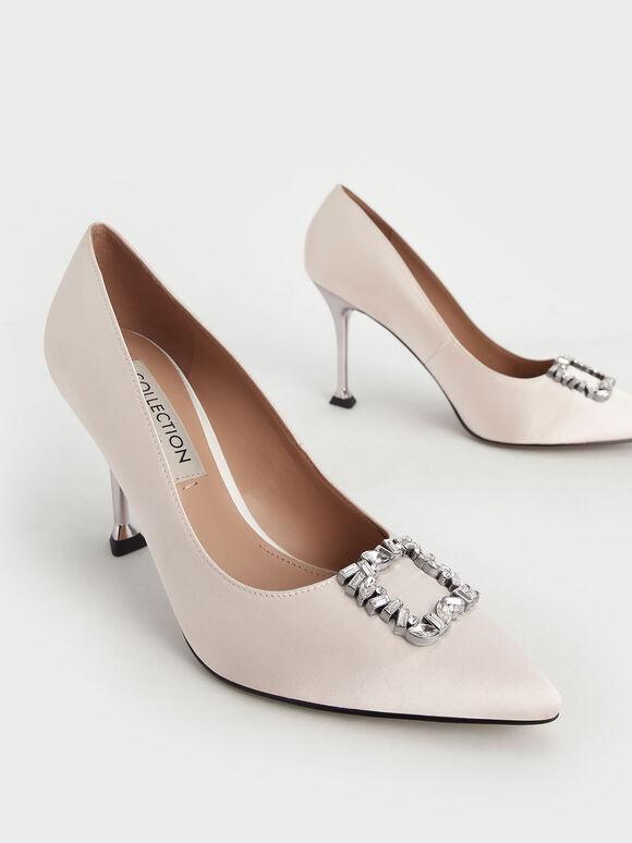婚禮系列:緞面寶石方釦跟鞋, 奶油色, hi-res
