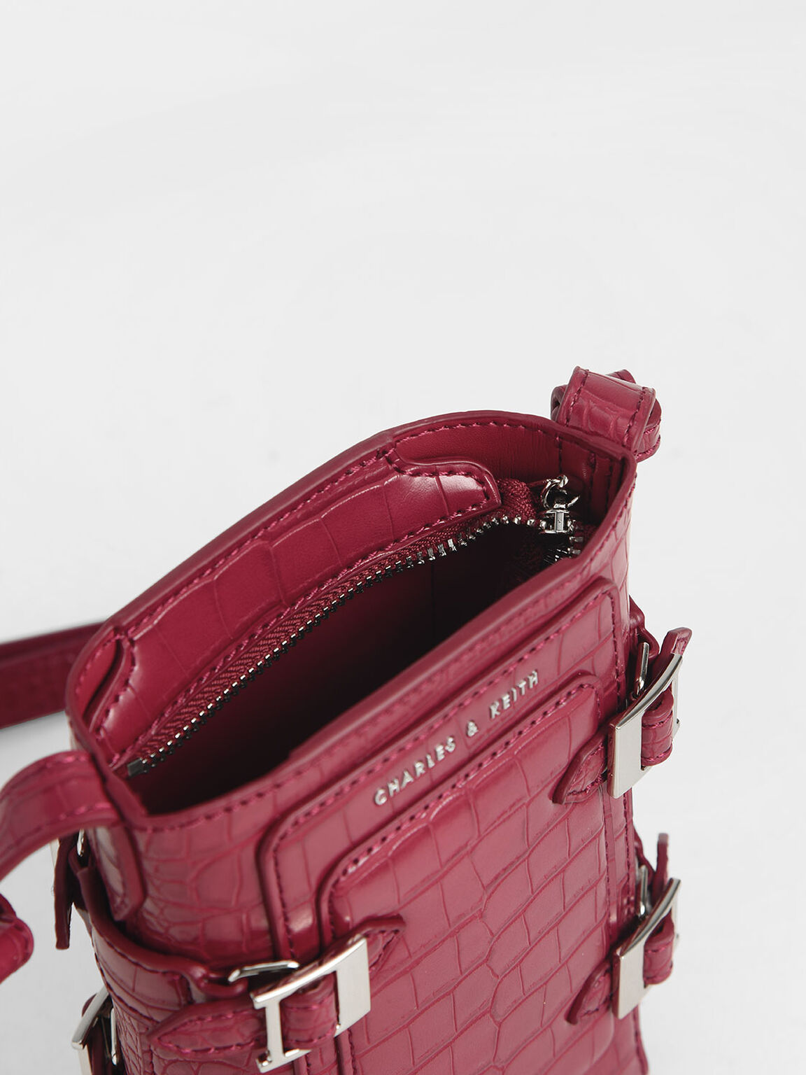 Small Croc-Effect Buckle Bucket Bag, Berry, hi-res