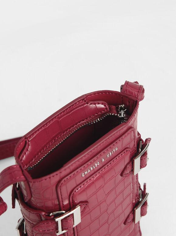 Small Croc-Effect Buckle Bucket Bag, Berry, hi-res