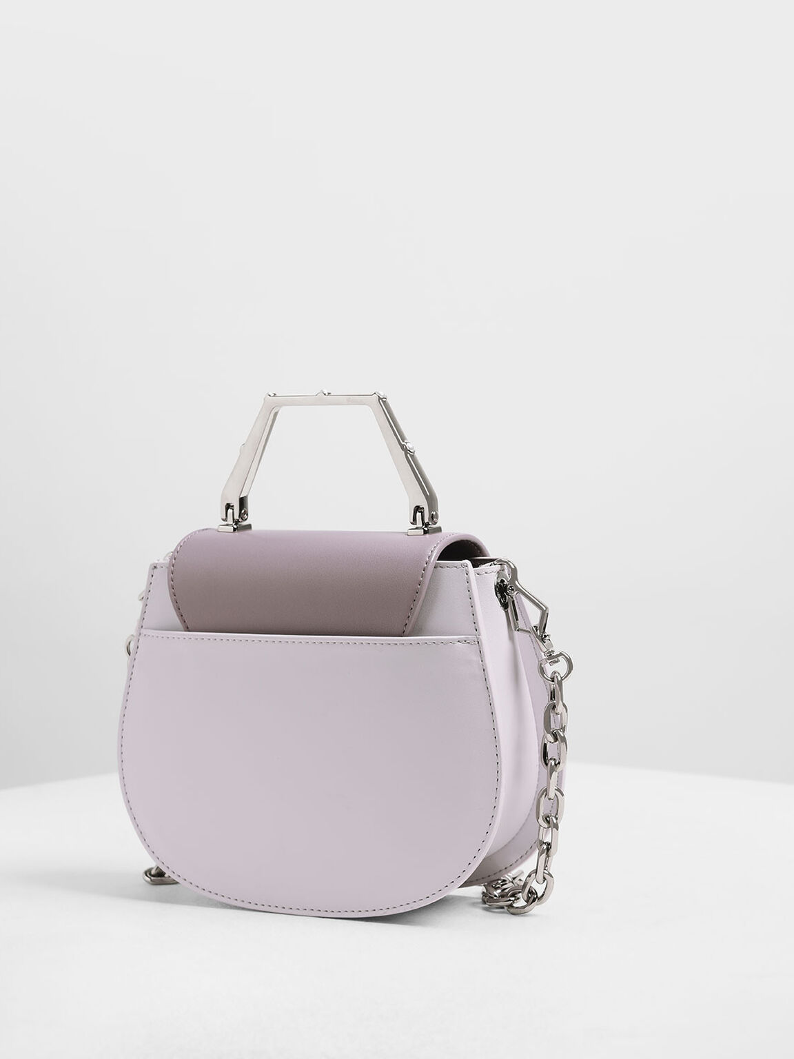 Geometric Top Handle Saddle Bag, Lilac, hi-res
