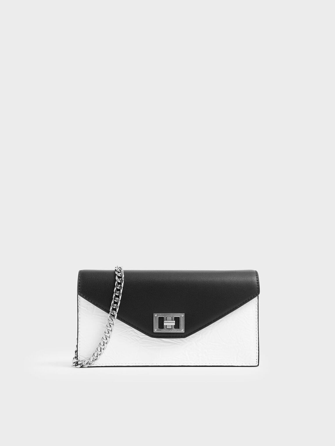 Two-Tone Wrinkled Effect Long Envelope Wallet, White, hi-res