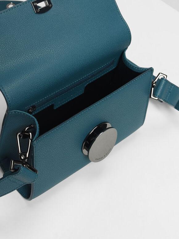 Circular Push Lock Crossbody Bag, Teal, hi-res