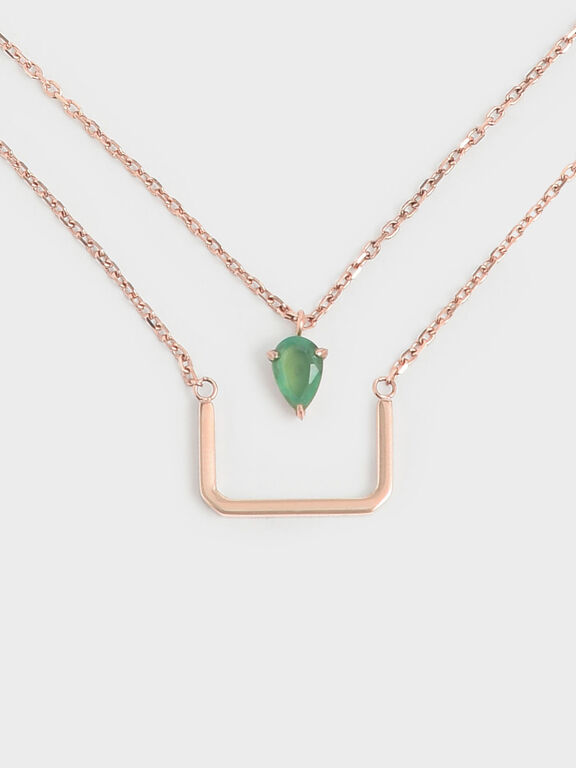 Green Agate Stone Layered Matinee Necklace, Rose Gold