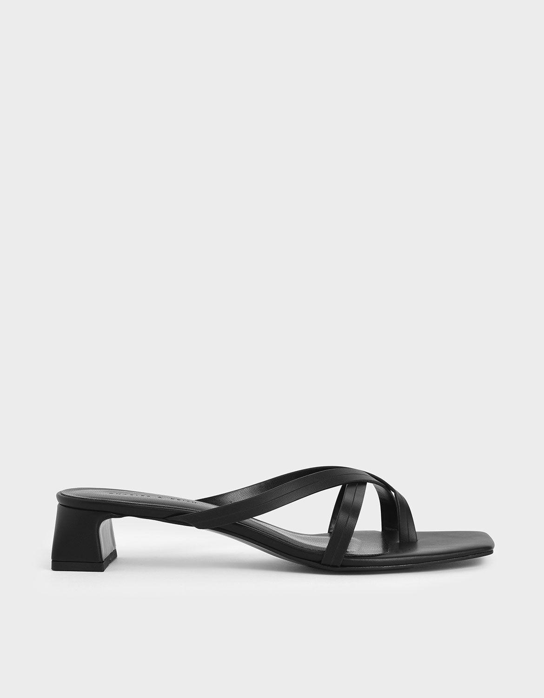 Black Strappy Toe Loop Heeled Sandals