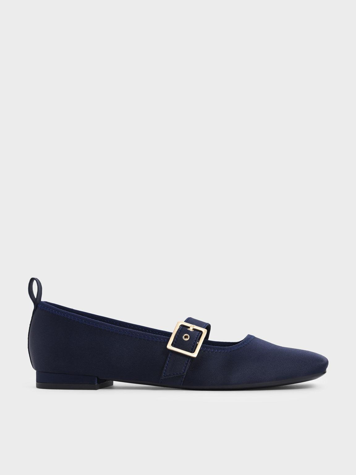 Satin Square Toe Mary Jane Flats, Dark Blue, hi-res