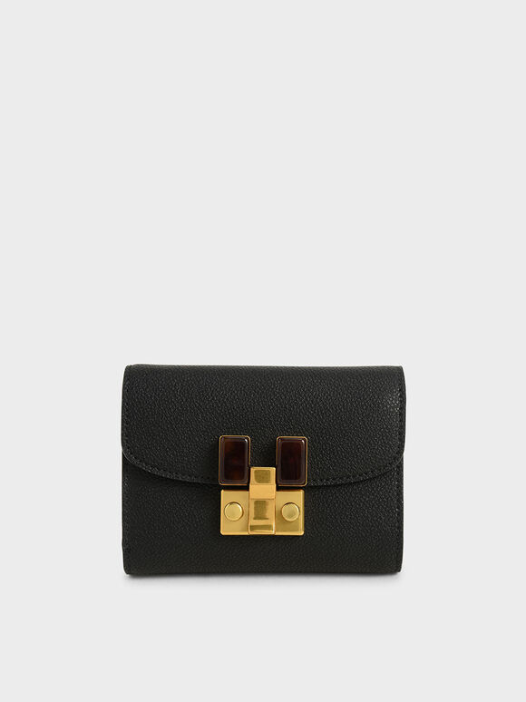 Stone-Embellished Mini Wallet, Black, hi-res
